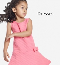 Girls Peach-Coloured & White Floral Printed Fit & Flare Dress